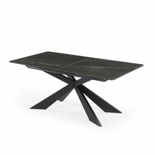 שולחן אוכל קרמיקה מפואר באורך  1.8 מ' נפתח ל- 2.4 מ' עם רגל מתכת דגם רונדה