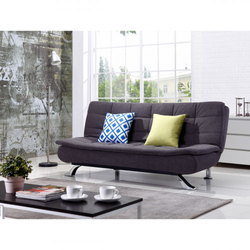 ספה דו מושבית מעוצבת נפתחת למיטה בצבע אפור כהה BREGENZ