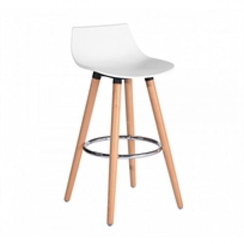 כיסא בר דגם לילי בצבע מבריק לבן