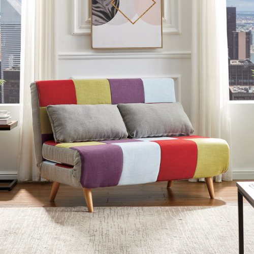 ספה נפתחת למיטה רחבה בריפוד בד צבעוני דגם קורל