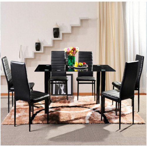 פינת אוכל מודרנית  המשלבת מתכת וזכוכית וכוללת שולחן medium   ו-6 כסאות דגם ונציה