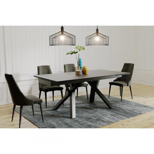 שולחן אוכל קרמיקה מפואר באורך 1.8 מ' נפתח ל- 2.6 מ' עם רגלי מתכת דגם ברצלונה
