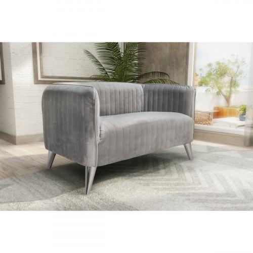 ספה דו מושבית מעוצבת בריפוד בד קטיפה דגם בריסל אפור