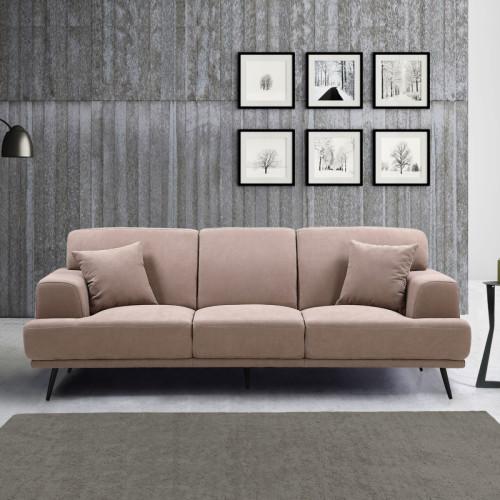 ספה תלת מושבית מעוצבת עם ריפוד דוחה נוזלים דגם סטנלי קפוצ'ינו
