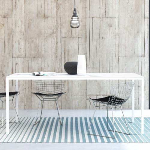 שולחן אוכל מלבני 180 סמ סקנדינבי עם רגלי ברזל דגם דורין - לבן