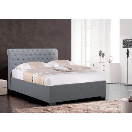 מיטה רחבה לנוער בריפוד בד עם ארגז מצעים מעץ 120/190 דגם קים