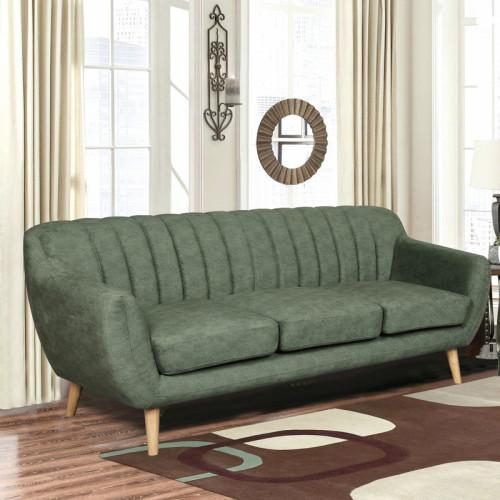 ספה תלת מושבית מעוצבת עם קפיצים מבודדים ובד רחיץ דגם פורטו ירוק