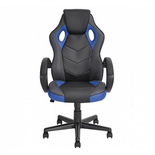 כסא סופר-גיימר מעוצב לבית או למשרד לישיבה ממושכת ונוחה שחור משולב בבד כחול