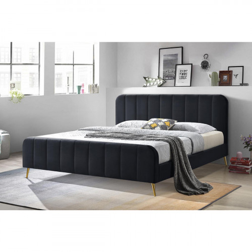מיטה זוגית  140x190מרופדת בד קטיפתי עם רגלי זהב  דגם טייגר