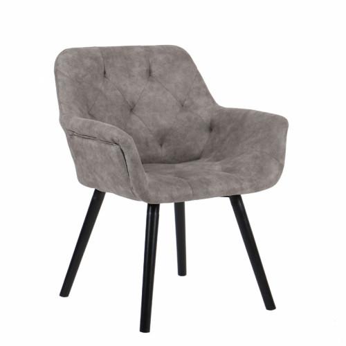 כורסא מעוצבת עם רגלי עץ מלא דגם ממפיס אפור