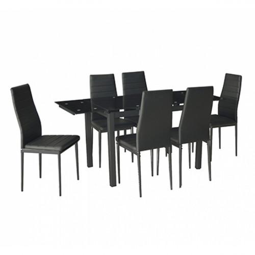 פינת אוכל מודרנית המשלבת מתכת וזכוכית וכוללת שולחן נפתח ו-6 כסאות דגם טורינו שחור