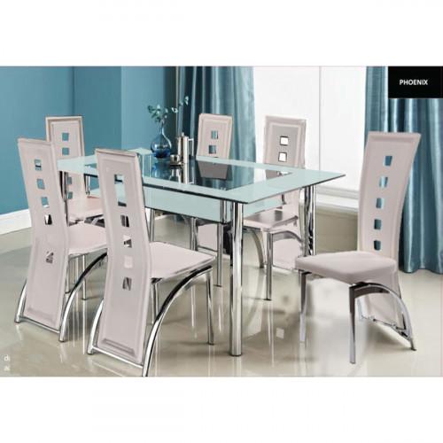 פינת אוכל מזכוכית דגם LORETO כולל 6 כיסאות בצבע קרם