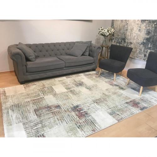 שטיח מלאנז' מעצבים בז' ריבועים צבעוני 200X300