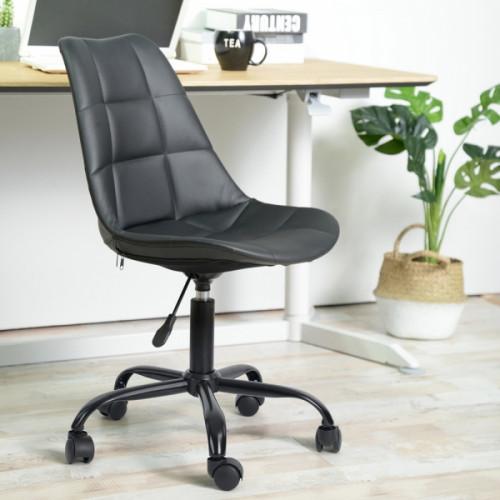כיסא דגם הוגו דמוי עור – שחור