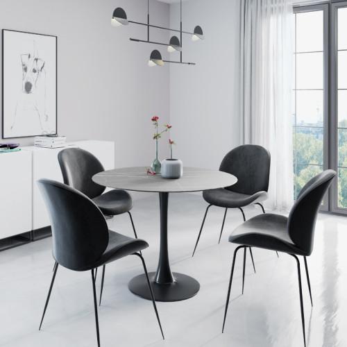 פינת אוכל עגולה עם שולחן פלטת אבן ייחודית ו-4 כסאות מרופדים  דגם שפילד-אגם צבע אפור