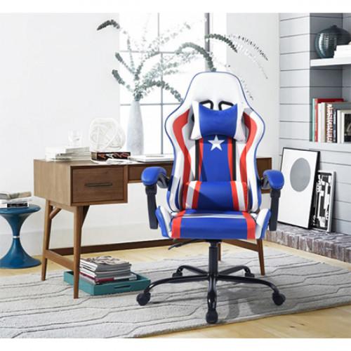 כיסא גיימר פרו בעיצוב ארגונומי בעל 2 מנגנוני כיוונון דגם אמריקה NF