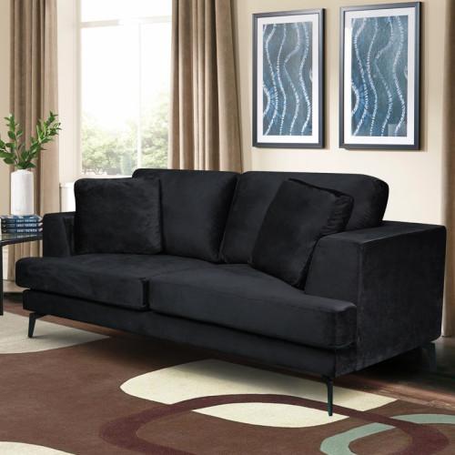 ספה דו מושבית מרופדת בד קטיפתי דגם אלפא שחור