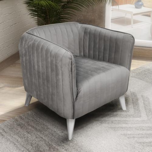 כורסא מעוצבת בריפוד בד קטיפה דגם בריסל אפור