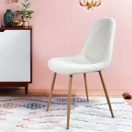 קרלטון קיטי - כיסא רב תכליתי בריפוד דמוי פרווה לבנה