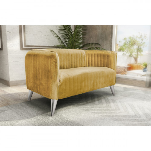 ספה דו מושבית מעוצבת בריפוד בד קטיפה דגם בריסל חרדל