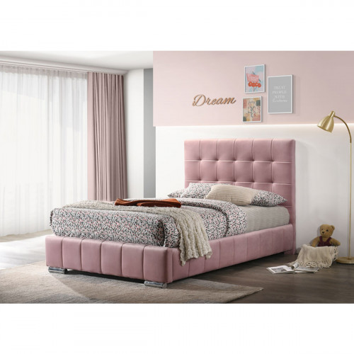 מיטת נוער 120x190 מרופדת בד קטיפתי ורוד דגם דיאנה