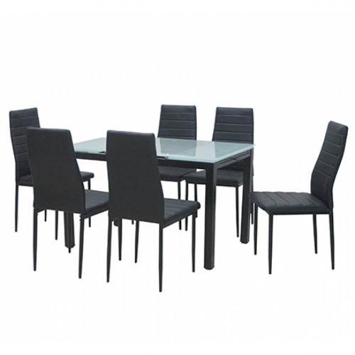 פינת אוכל מודרנית בשילוב מתכת וזכוכית הכוללת שולחן נפתח ו-6 כסאות דגם טורינו