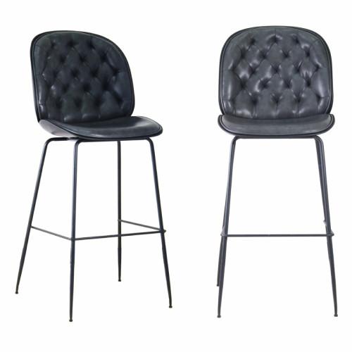 זוג כסאות בר מפוארים מרופדים בד רחיץ עם רגלי ברזל  דגם ויקטורי