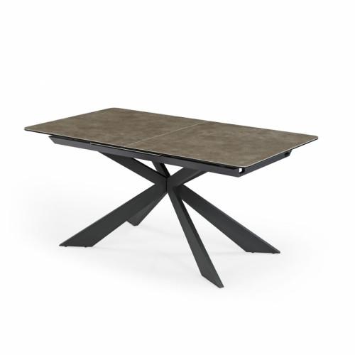 שולחן אוכל קרמיקה מפואר באורך 1.6 מ' נפתח ל- 2.1 מ' עם רגלי מתכת דגם מלגה