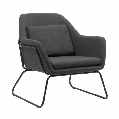 כורסא מעוצבת עם רגלי ברזל דגם ברייטון אפור
