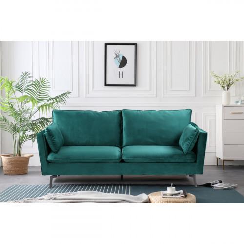 ספה תלת מושבית מעוצבת עם קפיצים מבודדים ובד קטיפה דגם רותם ירוק כהה