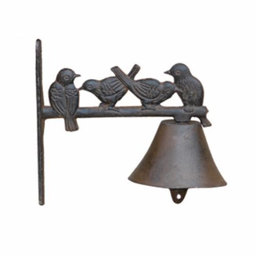 פעמון ברזל יצוק עם דמויות ציפורים לכניסה לבית או לעיצוב הגינה