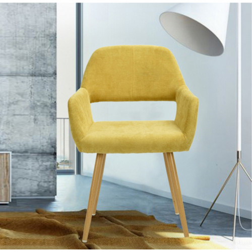 כיסא מרופד בעיצוב מודרני לבית או למשרד  דגם פאוול  חרדל