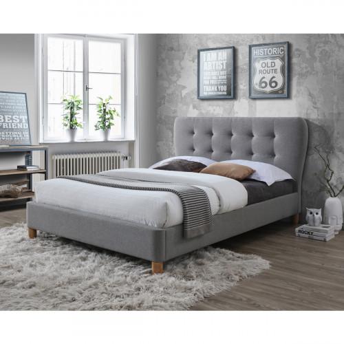 מיטת נוער (מיטה ברוחב וחצי) מעוצבת ומרופדת בבד אפור מרשים המתאימה למזרן 120/190, דגם טנגו