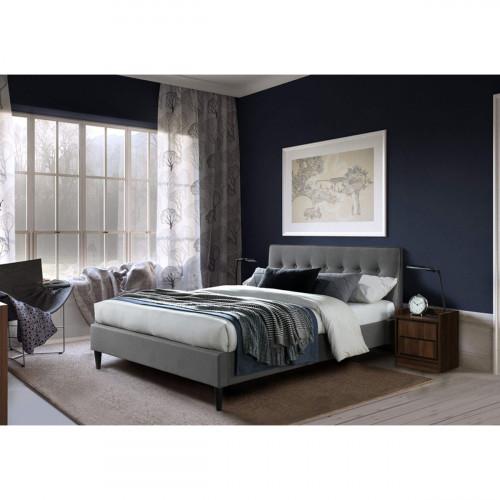 מיטת זוגית מעוצבת 140x190 בריפוד בד עם רגלי עץ מלא דגם פוני 140