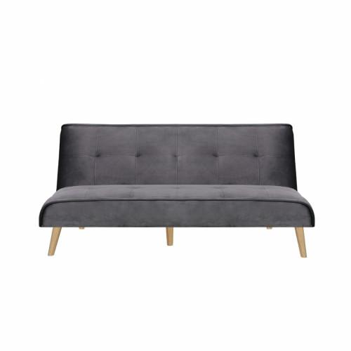 ספה נפתחת למיטה רחבה מרופדת בד קטיפה דגם לאון אפור