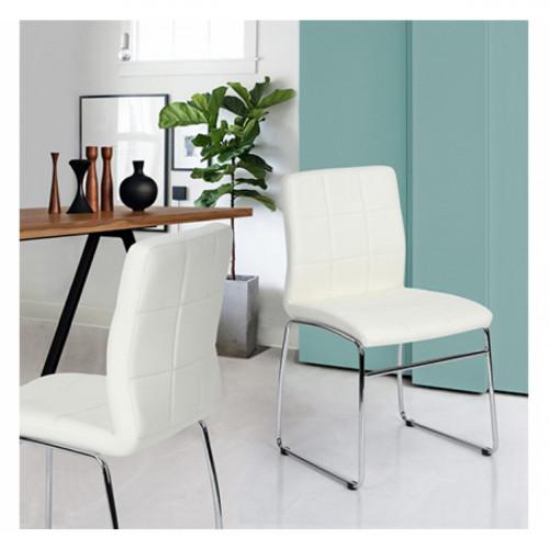 כיסא מודרני בעל משענת מרופדת בציפוי דמוי עור איכותי  דגם אדגר לבן