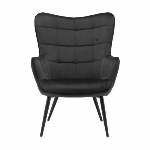 כורסא מלכותית מעוצבת עם רגלי מתכת וריפוד קטיפתי דגם בוסטון שחור