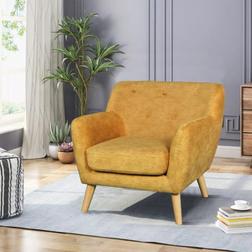 כורסא מעוצבת בעיצוב רטרו עם ריפוד בד רחיץ דגם אליס חרדל