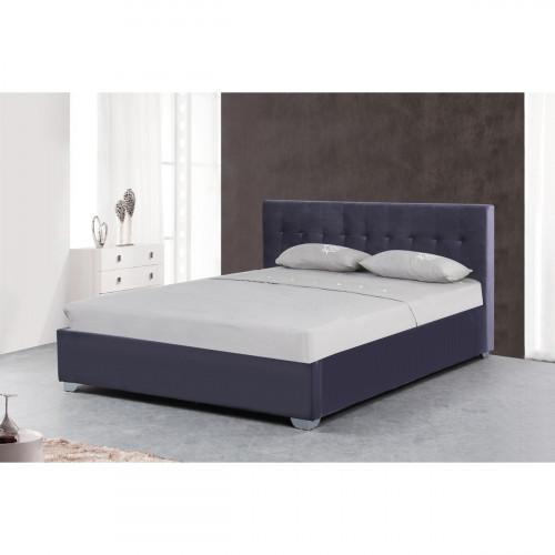 מיטה זוגית מעוצבת בריפוד בד קטיפתי עם ארגז מצעים מעץ 140X190 דגם אמילי