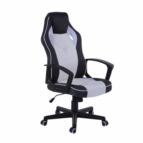 כסא גיימרים מעוצב עם משענת גב גבוהה ונוחה דגם סטיב בגוון לבן