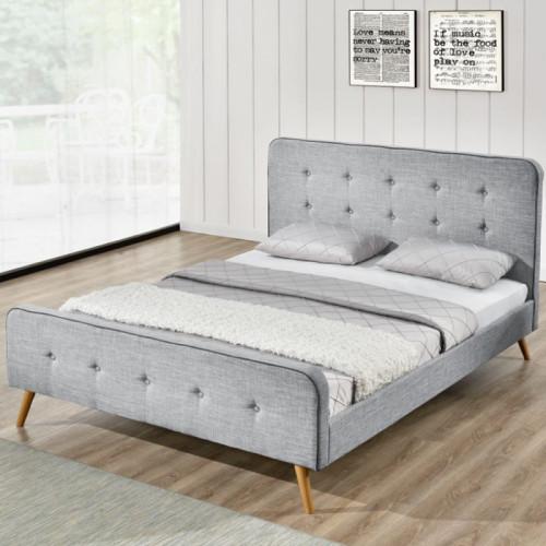 מקורי 990.00 ₪ | מיטה ברוחב וחצי מרופדת בד אפור בהיר ומעוצבת בסגנון צעיר BN-09