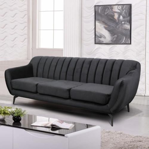 ספה תלת מושבית מעוצבת עם קפיצים מבודדים ובד קטיפה שחור  דגם פורטו שחור