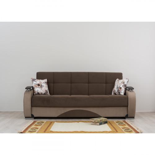 ספת 3 מושבים נפתחת למיטה עם ארגז מצעים GAMMA חום