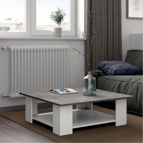 שולחן סלון SQUARE לבן עם בטון