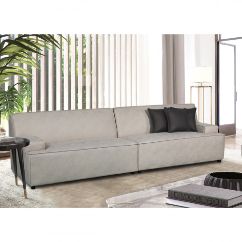 ספה רחבה 2.9 מ' מעוצבת עם קפיצים מבודדים ובד רחיץ דגם ליסבון קפוצ'ינו