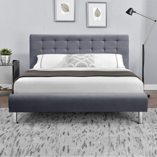 מיטה זוגית מעוצבת בריפוד בד קטיפתי 140X190 דגם מיקה