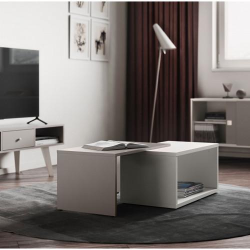 שולחן סלון מודולרי BOX לבן עם קפה