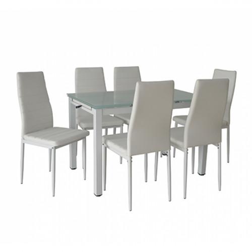 פינת אוכל מודרנית בשילוב מתכת וזכוכית הכוללת שולחן נפתח ו-6 כסאות דגם טורינו לבן