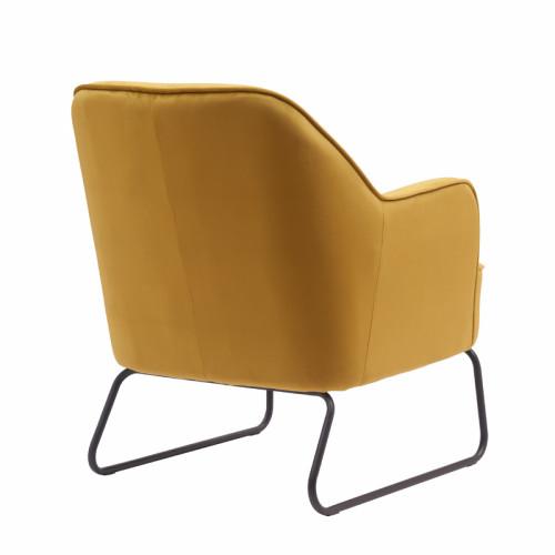 כורסא מעוצבת ונוחה עם רגלי ברזל דגם לידס צהוב-חרדל