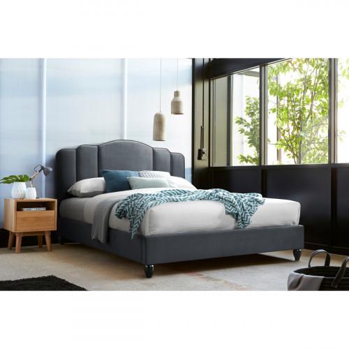 מיטה זוגית 160/200 מרופדת בד עם ראש מדורג ורגלי עץ מלא דגם אואזיס